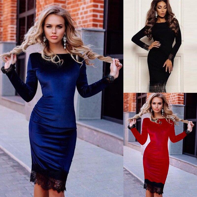 39edecf52309 Nueva moda mujeres lápiz vestido sexy Otoño Invierno empalme vestido de  encaje o-cuello de manga larga Rojo Negro vestidos tamaño más