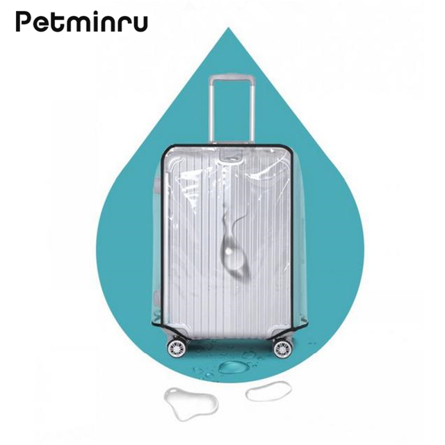 Petminru PVC Transparent Waterproof Luggage Covers Travel Luggage Trolley Protective Case Thicker Suitcase Covers 18''-30''
