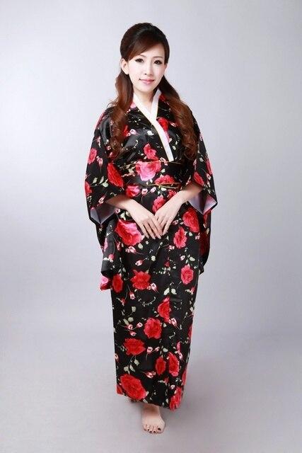 Black with Red New Japanese Kimono Vintage Original Tradition Silk Yukata  Dress with Obi H0055 0a841efd53ef