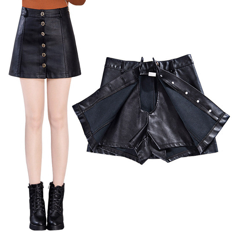 XS-5XL Single-breasted PU Shorts Skirts Womens Plus Size Leather Skirt Spring 2019 Korean A Line Skirt High Waist Slim saia f484 image