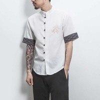 MRDONOO 2018 Dragon Embroidery Men short Shirt Tops Chinese Style plate buckle Men T Shirt Short Sleeve Male Tees A032 1803