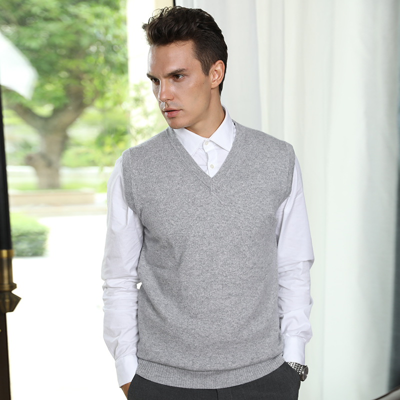 Men Sweaters 100% Pure Cashmere Jumpers Sleeveless Vneck Pullovers Hot Sale 5Colors Sweater Winter New Knitwear Man Clothes Tops