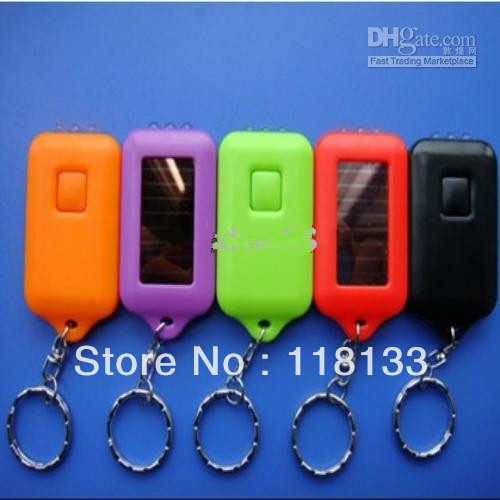 -400pcs Christmas Gift Mini Solar Key Chain Light multi-color Rechargeable Flashlight