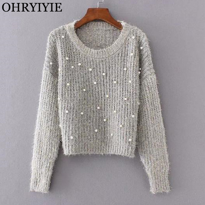 OHRYIYIE Autumn Winter Women Pearl Beaded Knit Jumper 2019 Fashion Long Sleeve Mohair Sweater Female Warm Pullovers Pull Femme