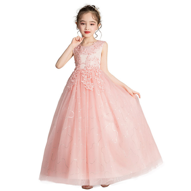 High quality long princess evening wedding   girl     dresses   for kids   dress   first communion   dress   baby costume children tutu clothing