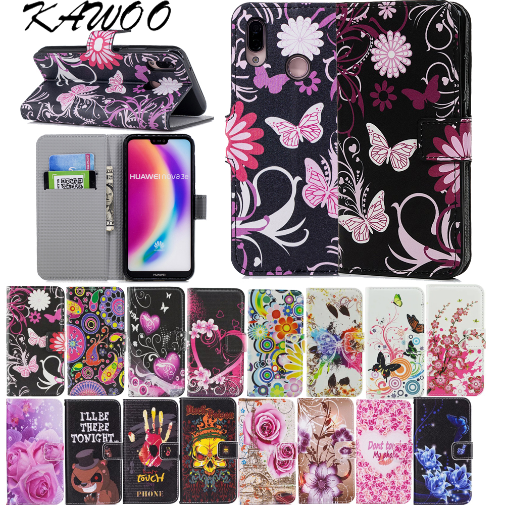 Book Style Patterned Wallet <font><b>Flip</b></font> PU Leather <font><b>Case</b></font> Cover For Huawei P20 <font><b>Lite</b></font> P10 P20 <font><b>Honor</b></font> <font><b>9</b></font> <font><b>Lite</b></font> For Huawei P Smart Capa Coque image