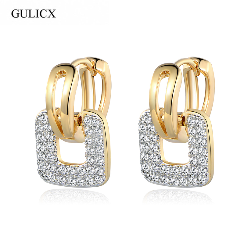 GULICX Brand 2017 Unique Square Shaped Piercing Small Huggie Hoop Earring for Women Gold color Earing Round CZ Jewelry E218