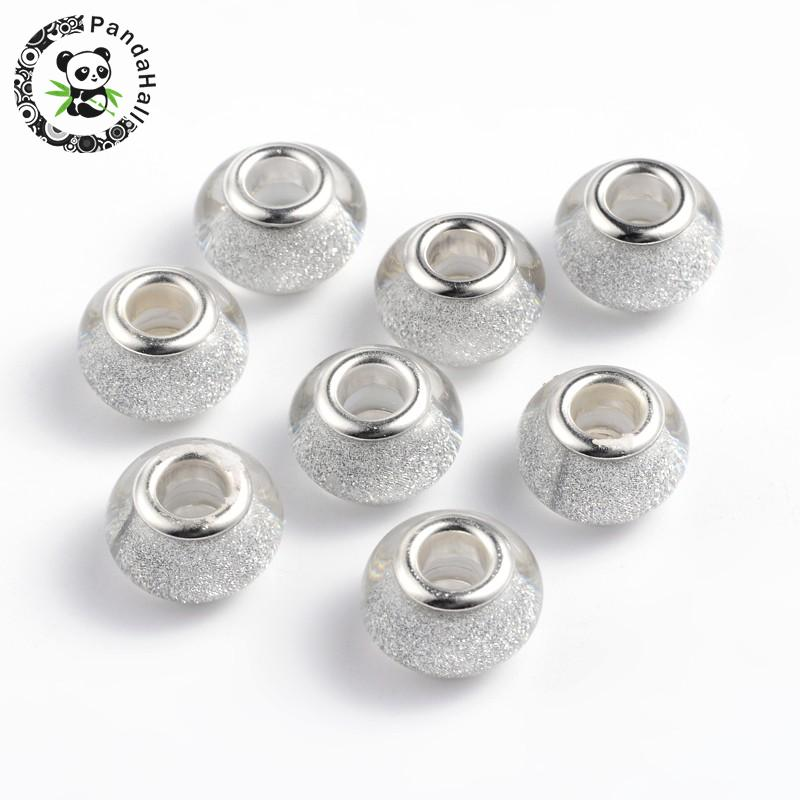 100 Silver Tone Metallic Acrylic Smooth Ring Spacer Big Hole Pony Beads 10X6mm