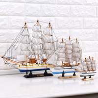 Home Decor Europe Mediterranean Style Sailing Boat Plain Sailing Wood Craft Fine Gift For Others