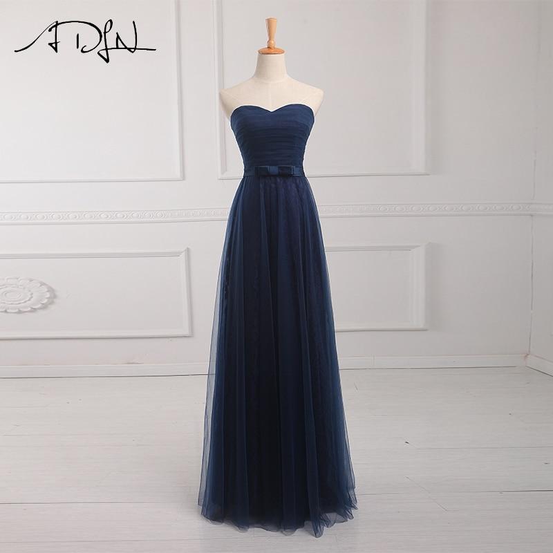 ADLN Sweetheart A-Line   Bridesmaid     Dresses   Long Elegant Navy Blue Robe Demoiselle D'honneur   Dress   for Wedding Party