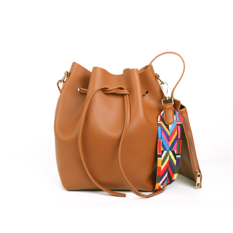 PU Leather Women's Handbag Fashionable Bucket Bag Messenger Bags With Colorful Strap 190404