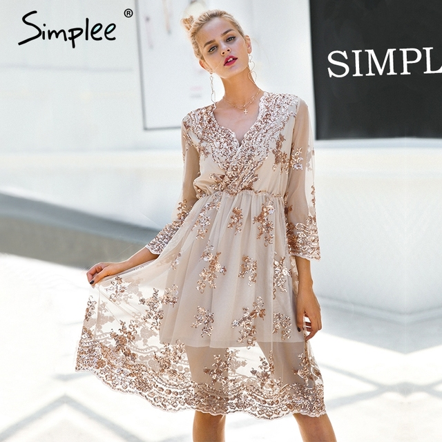 simplee v neck long sleeve sequin party dresses women sexy mesh streetwear christmas midi dress female
