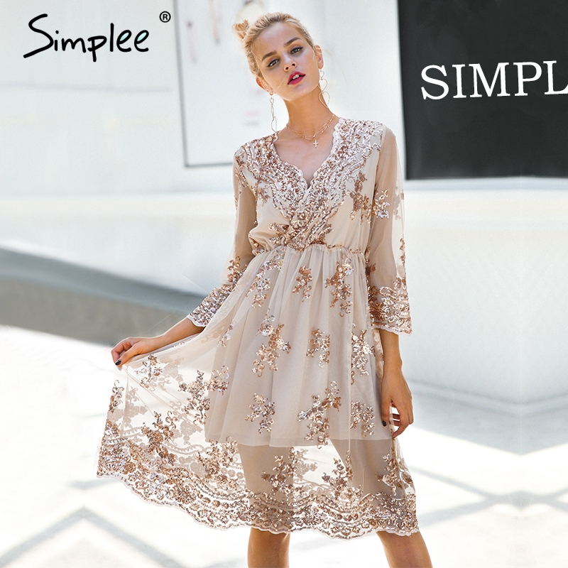 Simplee V Neck Long Sleeve Sequined Party Dresses Women Sexy Mesh Streetwear Midi Dress Female 2018 Spring Black Dress Vestido