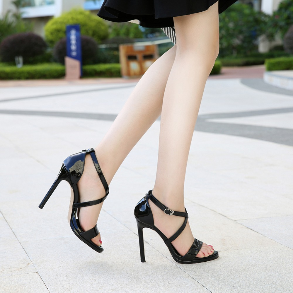 Odinokov 2018 Ankle Strap Heels Women Sandals Summer Shoes Women Open Toe Chunky High Heels Party Dress Sandals Big Size 44 gold women sandals wedding party high heels cross straps bridal party sandal shoes womans size 11 shoes open toe ankle strap