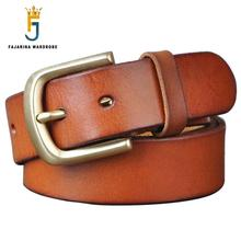 FAJARINA 3.8cm Wide Top Quality Mens Retro Styles Man Fashion Genuine Leather Men Pin Buckle Belts for Men Leather Belt NW0033