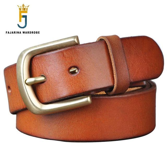 FAJARINA ceintures à boucle ardillon en cuir véritable pour homme, 3.8cm de large, Styles rétro, à la mode, NW0033