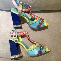 Модные женские сандалии Лакированная кожа высокие каблуки бренд шпильках женская свадебная обувь квадратный каблук