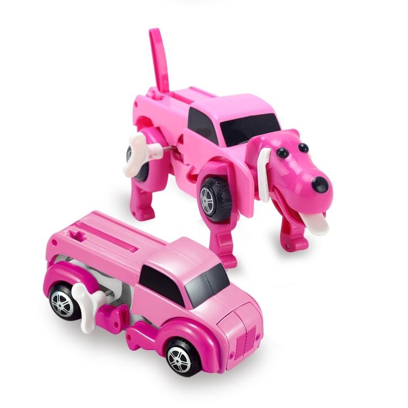 mehechap 4 colors automatic transform dog car vehicle clockwork wind up toy for children kids boy