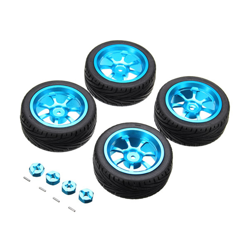4Pcs High Quality RC Car Wheel Rim & Tires with 12mm Adapter for 1/18 WLtoys A959-B A949 A959 A969 A979 K929 4pcs rubber rc racing tires car on road wheel rim fit for hsp hpi 1 10 high quality rc car part diameter 68mm tires