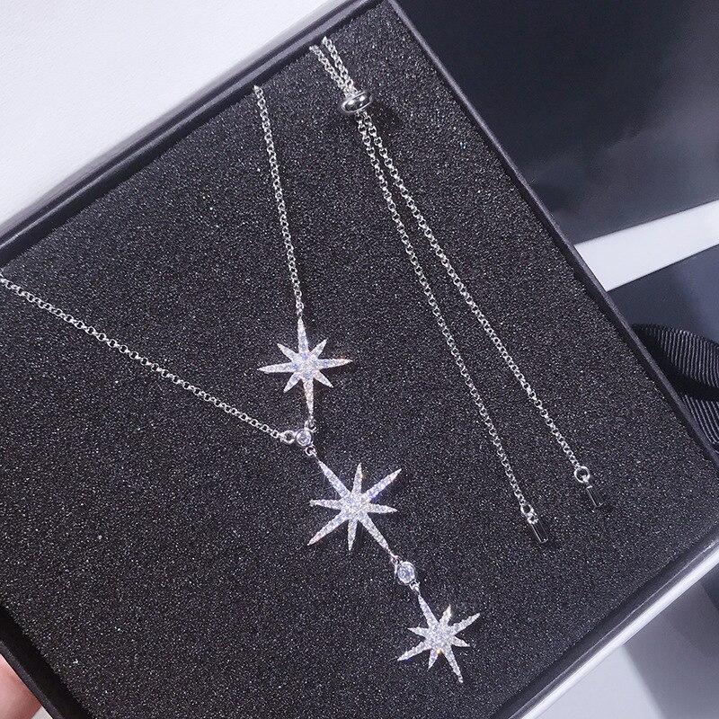 Mode femmes élégant étincelant 3 lettres Zircon pendentif pur 925 en argent Sterling collier tout assorti Designer collier