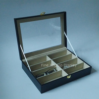 PU Leather 8 Grid Sunglasses Collection Display Box Stand Jewelry Showcase Holder Glasses Organizer