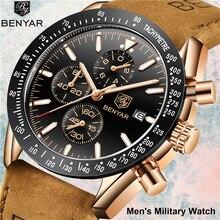 купить Men's Watches Benyar Fashion Quartz Men Watch Waterproof Military Sport Clock Man Casual Leather Chronograph Relogio Masculino по цене 1497.37 рублей