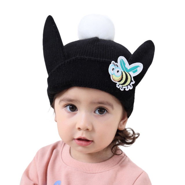 Lucu Bayi Anak Gadis Boy Kartun Lebah Telinga Hangat Musim Dingin Rajutan  Topi Topi Beanie 92709fc517