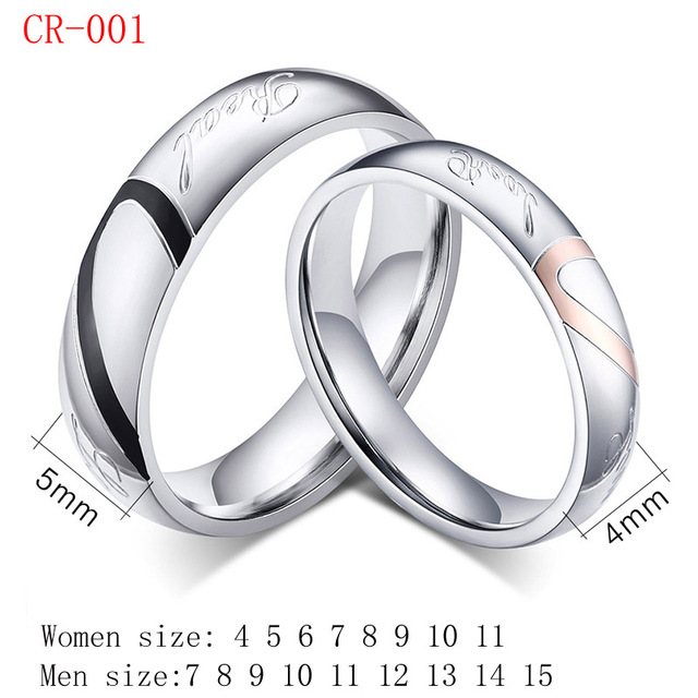 2PCS/Lot Lover Rings Couple Wedding Rings Love Heart Puzzle Promise Mix  Size Engagement Rings For SHE/HE SFC001 In Rings From Jewelry U0026 Accessories  On ...