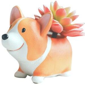 Image 1 - Creative Cute Cartoon Corgi Dog Flowerpot Resin Succulent Planter Cactus Home Office Decoration Garden Supplies Christmas Gift
