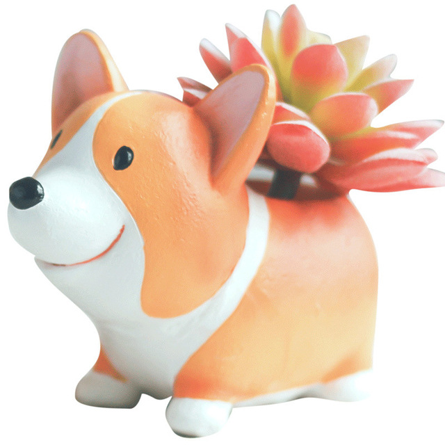 Creative Cute Cartoon Corgi Dog Flowerpot Resin Succulent Planter Cactus Home Office Decoration Garden Supplies Christmas Gift