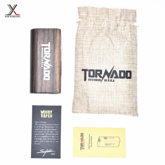 5 pçs/lote 100% Lenhosa Originais Kit Cigarros Eletrônicos 75 W BOX MOD e cigarro De Madeira Kit com Display OLED 18650 bateria