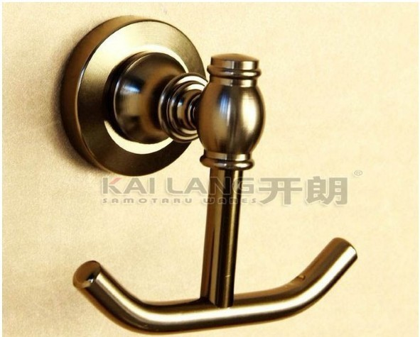 Free shipping double clothes hook wall hanger bathroom kit screw mounted antique brush bronze color space aluminum material
