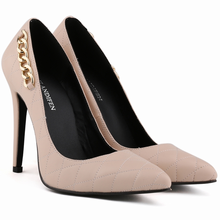 Free shipping matti leather stitching checks with chain detail high heel shoes plus size pointed toe