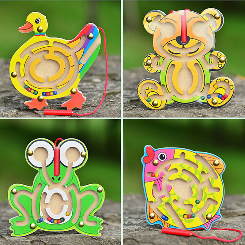 Kids Wooden Animal Puzzle Cartoon Bear Frog Duck Shape Early Educational Learning Toys Intellectual Game Toys Baby Holiday Gift baby kids children wooden toys alphabet number building jigsaw puzzle snake shape funny digital puzlzle game educational toys