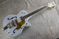 Factory Custom GRETSCH THE WHITE FALCON 6120 Semi Hollow Body Jazz Korean Tuners Electric Guitar With Bigsby Tremolo
