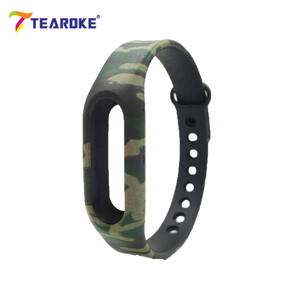 On Sale! TEAROKE Flower Printing Silicone Soft Watchband for Xiaomi 1 MiBand Mi Band Army Camo Replacement Bracelet Wrist Strap tearoke colorful silicone strap for xiaomi mi band miband 1 1s bracelet replacement wristband band accessories reemplazo pulsera