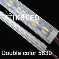 50 шт 100 шт./лот 50 см 12 V Высокая яркость 5630 Жесткая лента двухрядные светодио дный жесткая лента 5630 5730 бар свет холодный белый 12 мм PCB DC12V