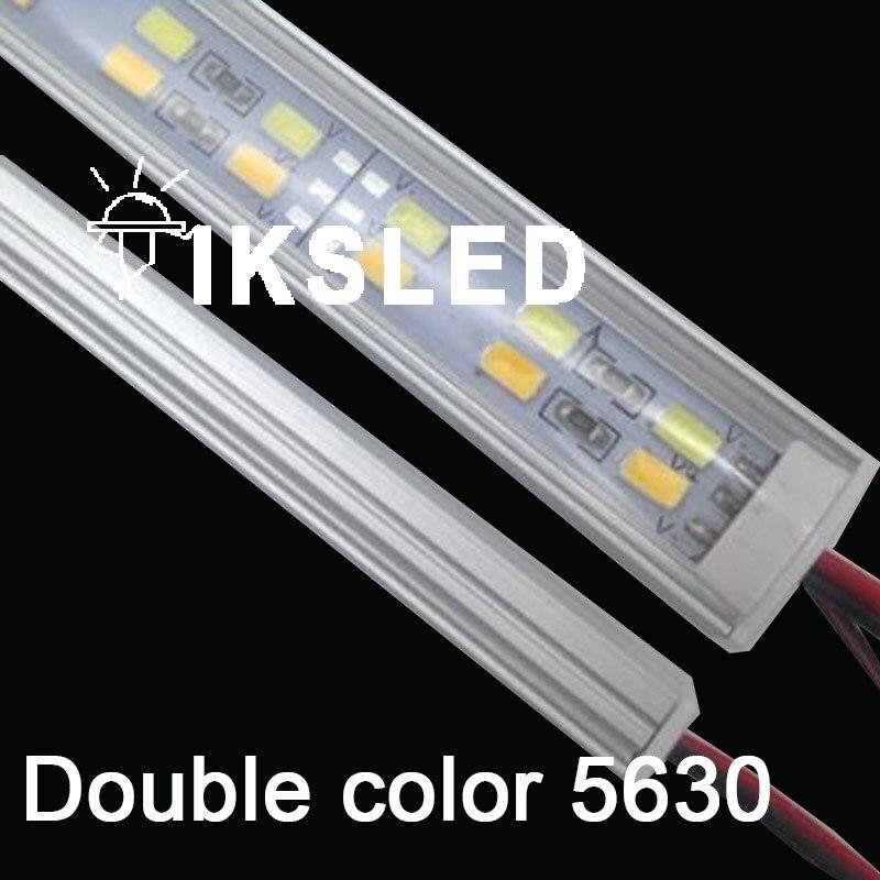 50 pcs 100 pcs/lot 50 cm 12 V haute luminosité 5630 rigide bande Double Rangée LED Bande Rigide 5630 5730 bar lumière Blanc Froid 12mm PCB DC12V