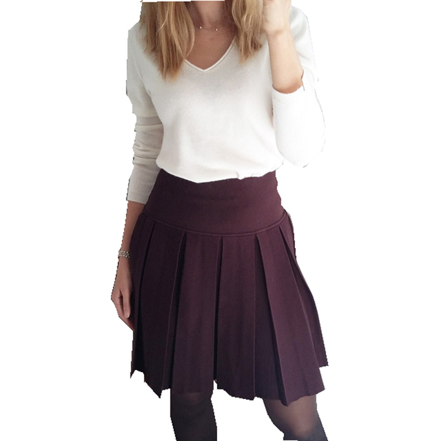 bd9169f0c17 INNASOFAN Women s Skirt Autumn-winter knitted pleated mini skirt of high  waist Euro-American fashionable skirt of solid color