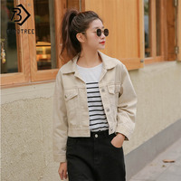 2019 New Women Solid Jeans Denim Jacket Short Single Breasted Turn Down Collar Pockets Loose Coat Casual Fashion C91330J