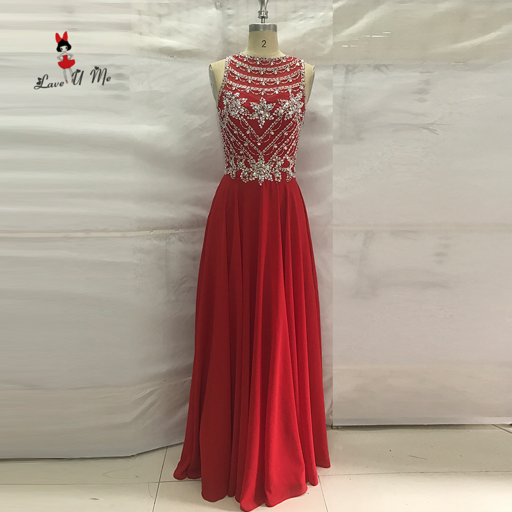 Red Elegant Long Luxury Prom Dresses 2017 Sparky African Robe De Soiree Longue Formal Evening