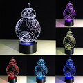 For Star Wars BB-8 3D LED Illusion Night Light Touch Switch Lamp Desk 7 Colors Gifts