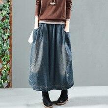 Autumn Winter Skirt Retro Women Loose Denim Skirt New Elastic Waist pocket Bleached Casual Female 2018 Denim Skirt