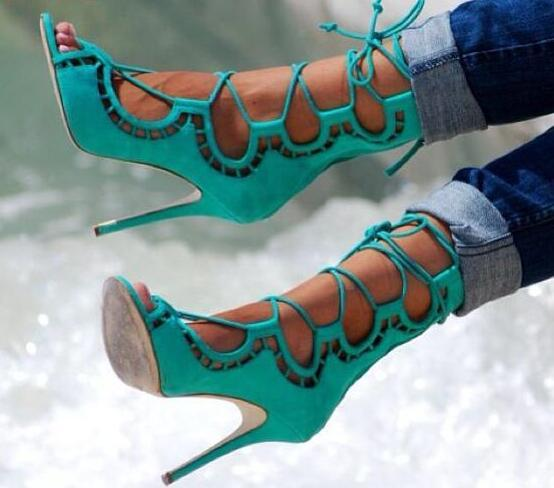2017 Hot Cut Out Women Lace Up Sandals Sexy Peep Toe Suede Leather Ladies Fashion High Heels Female Dress Shoes Party Shoes