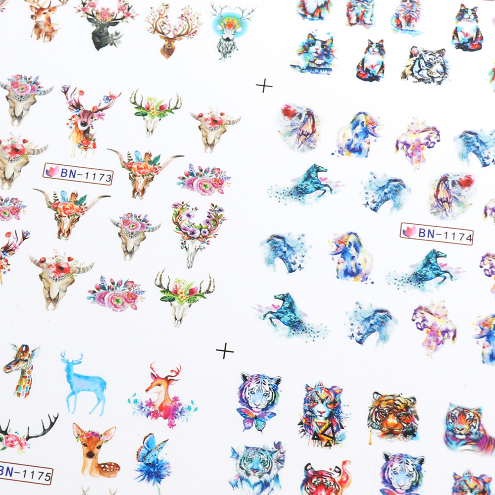 Nail Stickers Cat Flowers Flamingo Animal Water Transfer Decals Tattoo Decoration Foils Wraps Manicure Accessories (2)