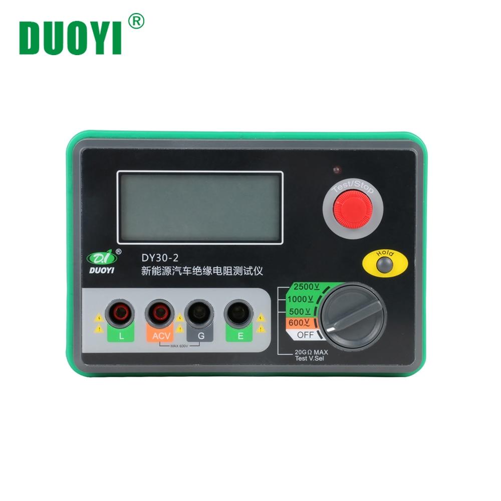 DUOYI DY30 2 Digital Insulation Resistance Tester Meter 20G ohm 500V 1000V 2500V Megohmmeter Voltmeter Car