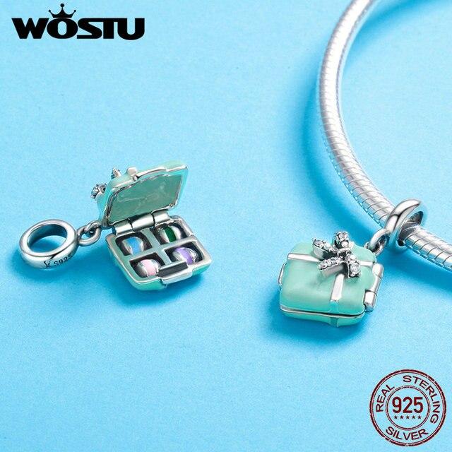 WOSTU Горячая продажа 925 стерлингового серебра Макарон конфеты коробка качающаяся подвеска ожерелье и браслет из бусин для женщин DIY Ювелирны...