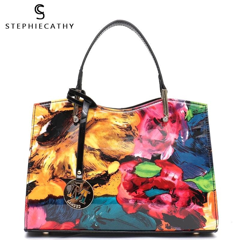 SC Vegan Patent Leather Women Top handle Bags Girls Luxury Shoulder Bags Ladies Fashion Tote Handbags