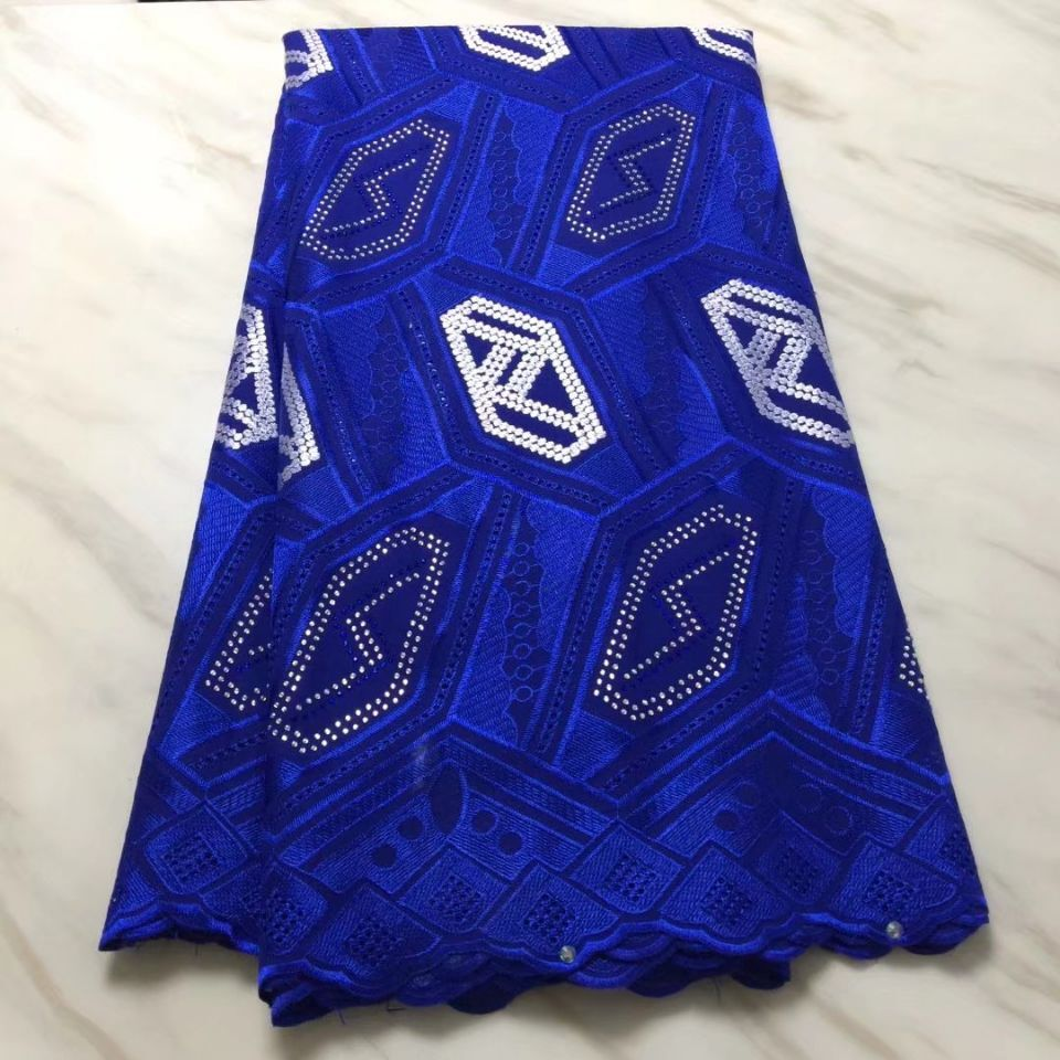 5Yards Hot sale royal blue african cotton fabric with rhinestone decoration swiss voile lace embroidery for dress BC41-15Yards Hot sale royal blue african cotton fabric with rhinestone decoration swiss voile lace embroidery for dress BC41-1
