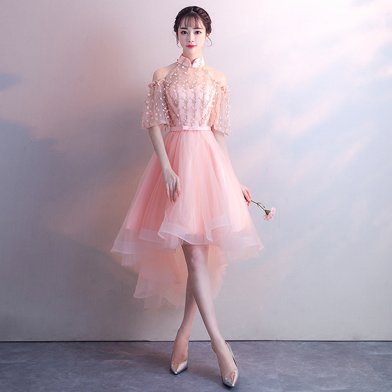 ab8963249a7 Novelty Mandarin Collar Ladies Qipao PINK Elegant Chinese Bridesmaid Dress  Vestidos Noble Slim Evening Gowns Vintage Cheongsam